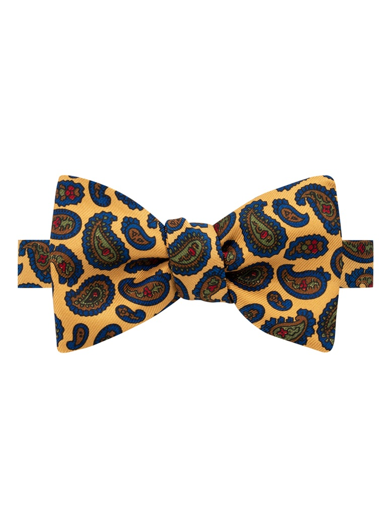Silk Paisley Printed Bow Tie in Marigold