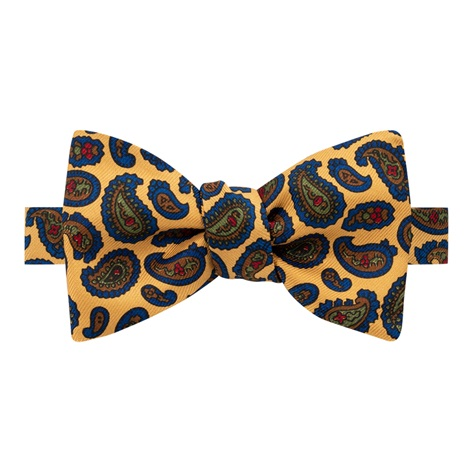 Silk Paisley Printed Bow Tie in Marigold