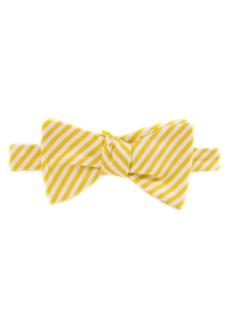 Silk Striped Bow Tie in White and Sun