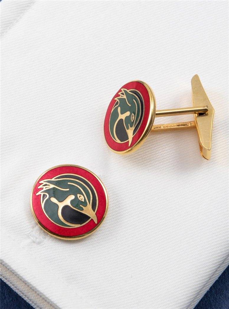 Wood Duck Cufflinks in Gold Filled with Enamel