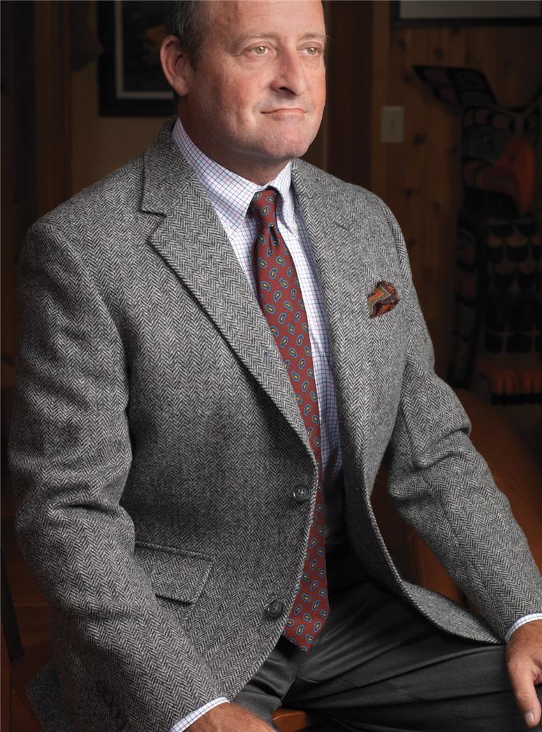 Charcoal and Silver Herringbone Harris Tweed Sport Coat