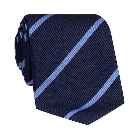 Silk Bar Striped Tie in Navy with Ocean Blue