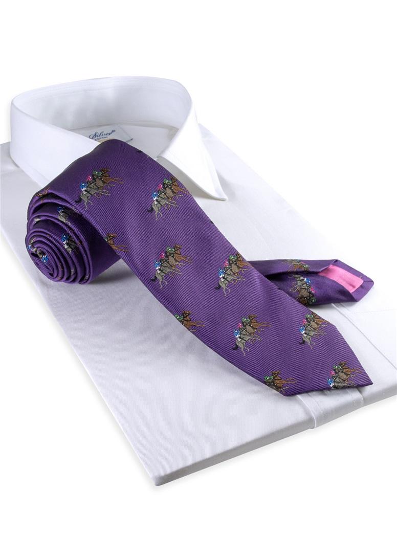 Silk Woven Equestrian Tie in Violet