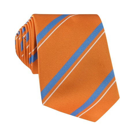 Mogador Silk Striped Tie in Tangerine