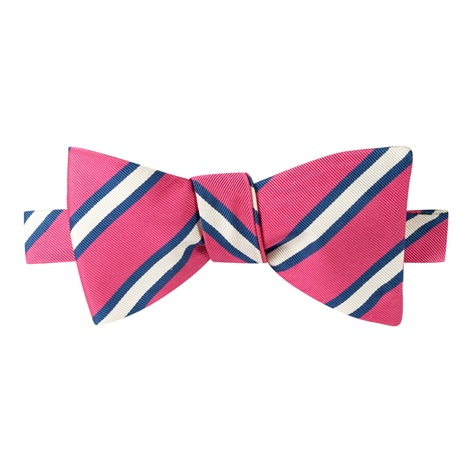 Mogador Striped Bow Tie in Magenta