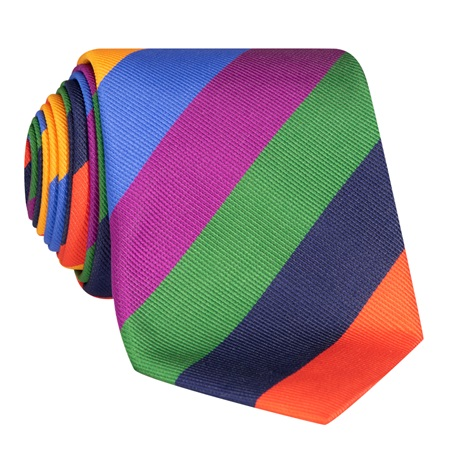 Repp Silk Multi-colored Block Stripe Tie