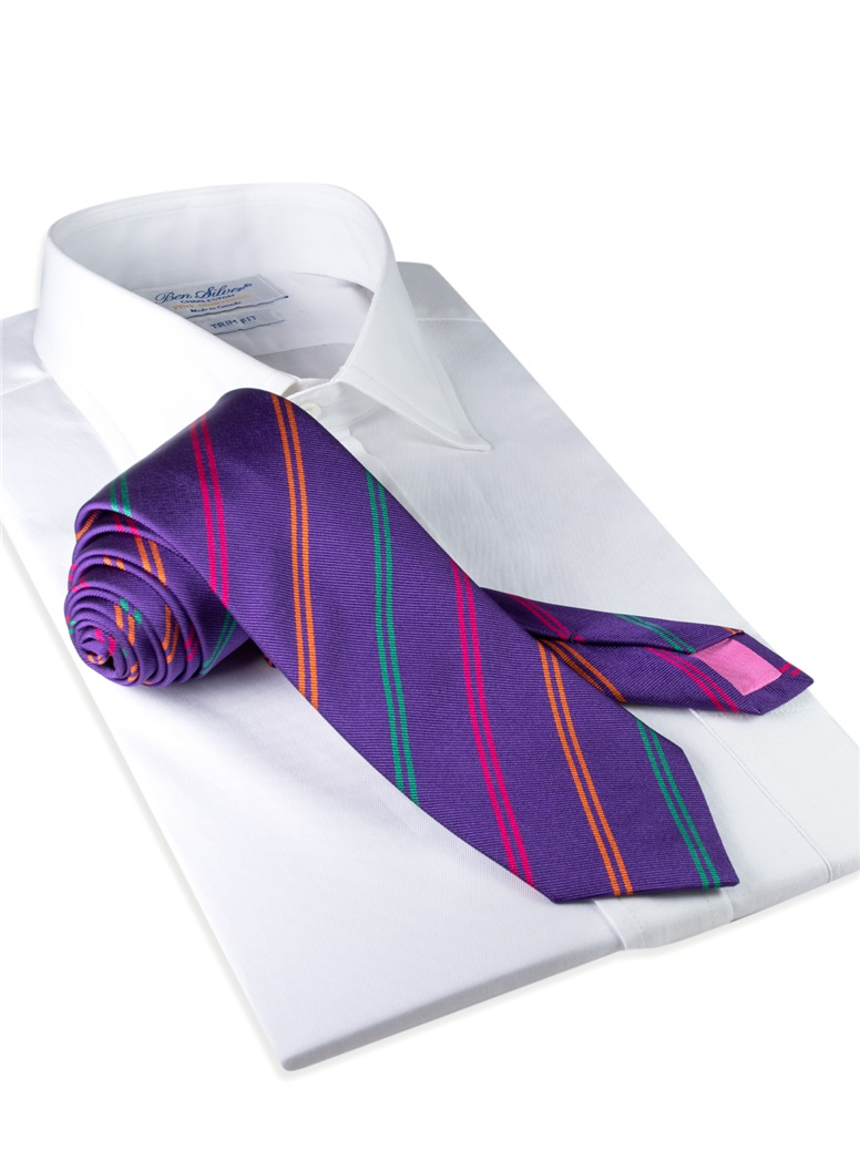 Silk Double Stripe Tie in Violet