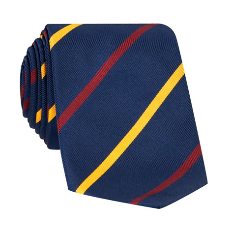 Mogador Double Bar Striped Tie in Navy