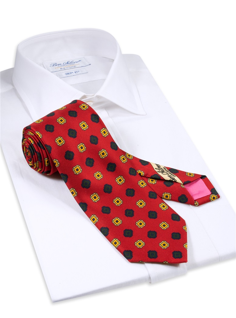 Silk Printed Square Motif Tie in Ruby