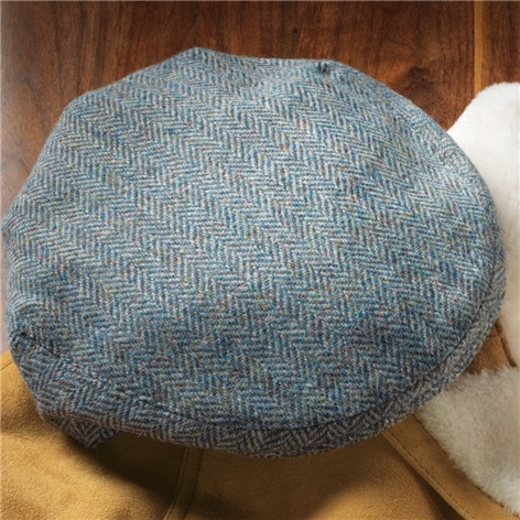 Wool Garforth Cap in Atlantic Blue Herringbone