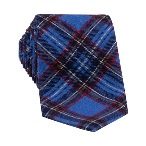 Wool Plaid Printed Tie in Ocean Blue