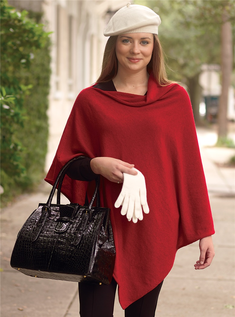Ladies Cashmere Poncho in Red