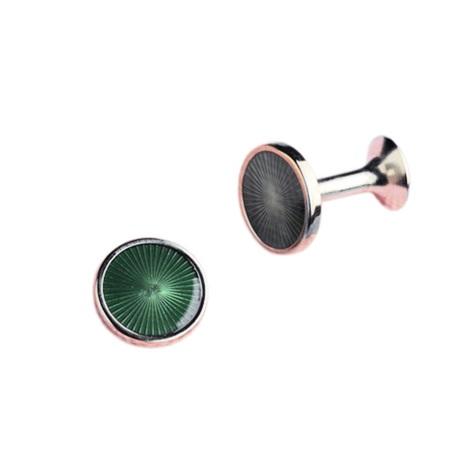 Round Fan Design Cufflinks in Green