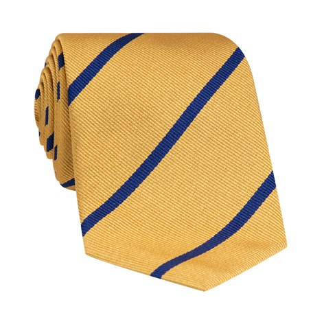 Silk Bar Striped Tie in Marigold with Navy