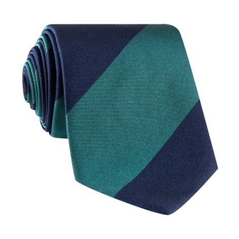 Silk Block Stripe Tie in Teal