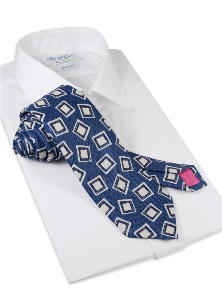 Silk and Linen Square Motif Tie in Denim