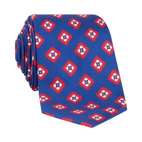 Silk Printed Tile Motif Tie in Navy