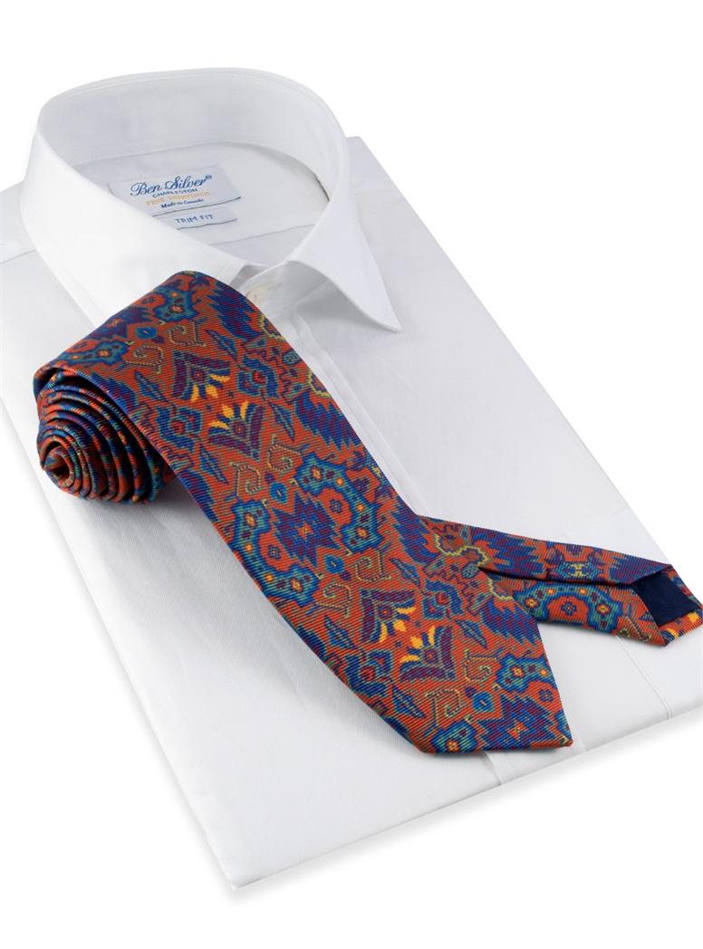 Silk Kelim Printed Tie in Burnt Orange