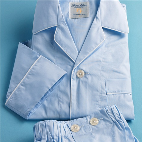 Blue End-on-End Pajamas with White Piping
