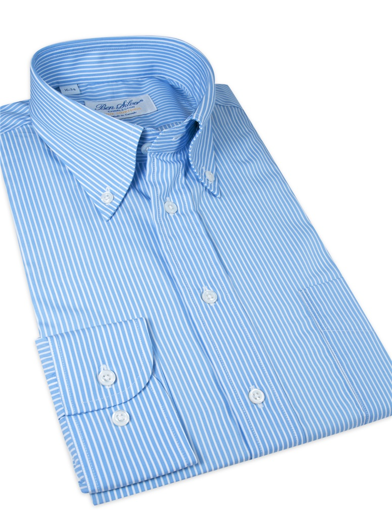 Blue with White Stripe Button Down Travel Shirt