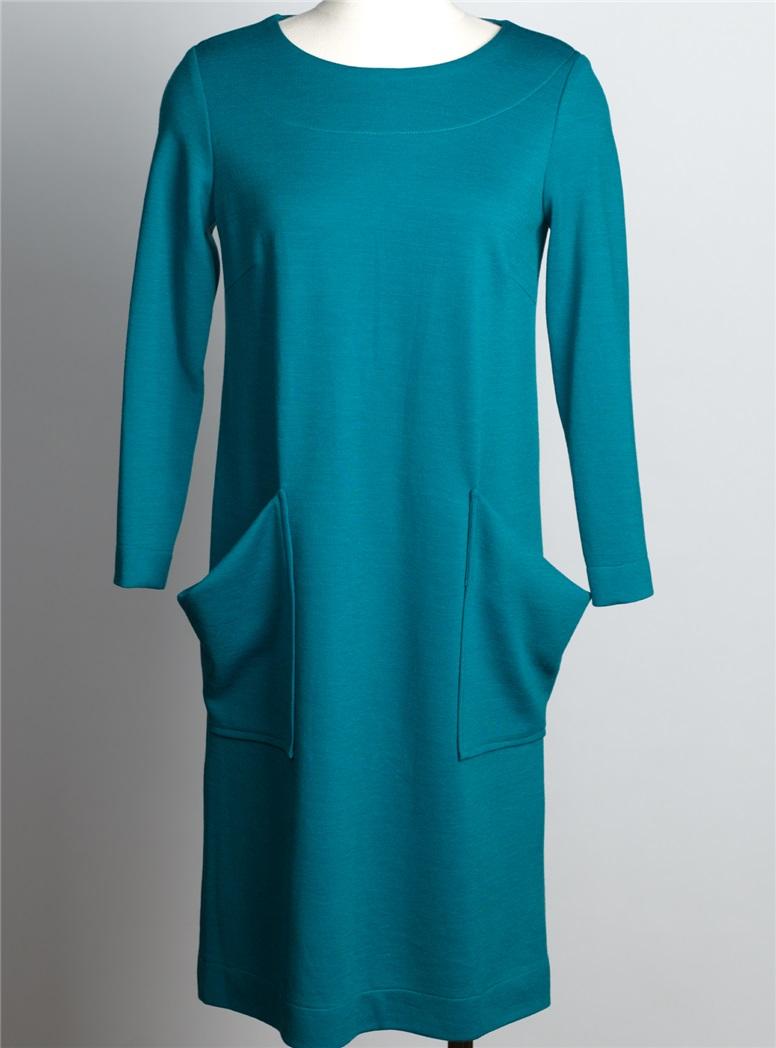 Ladies Wool Shift Dress in Teal