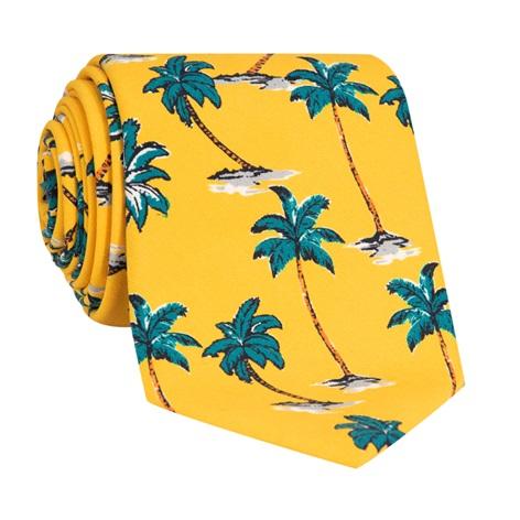 Silk Printed Palm Tree Tie in Sun