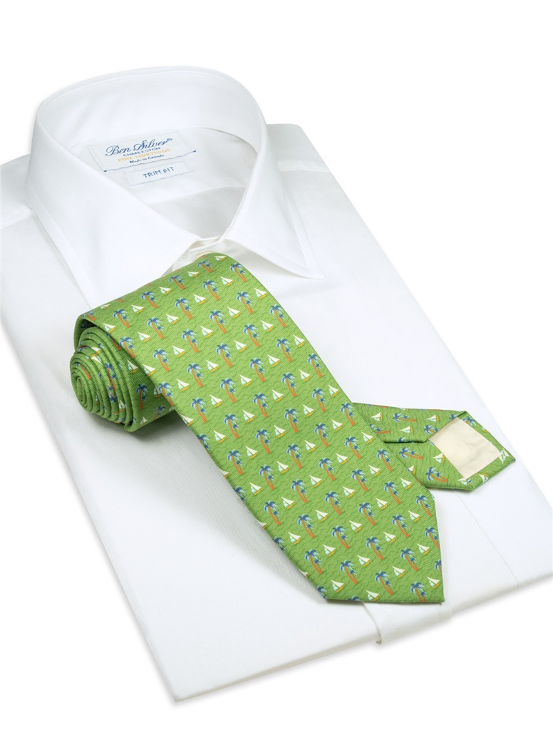 Silk Printed Sailboat Tie in Lime