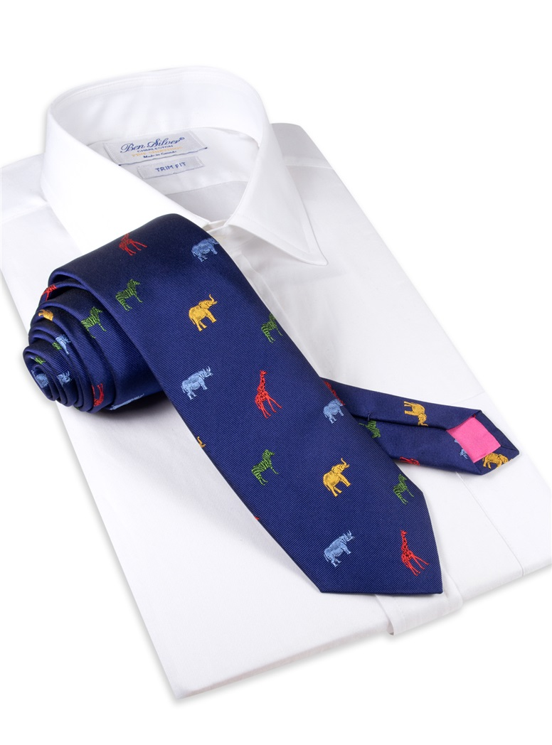 Silk Woven Animal Motif Tie in Navy