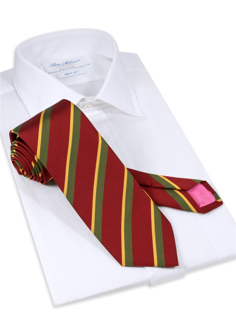 Mogador Silk Double Stripe Tie in Ruby