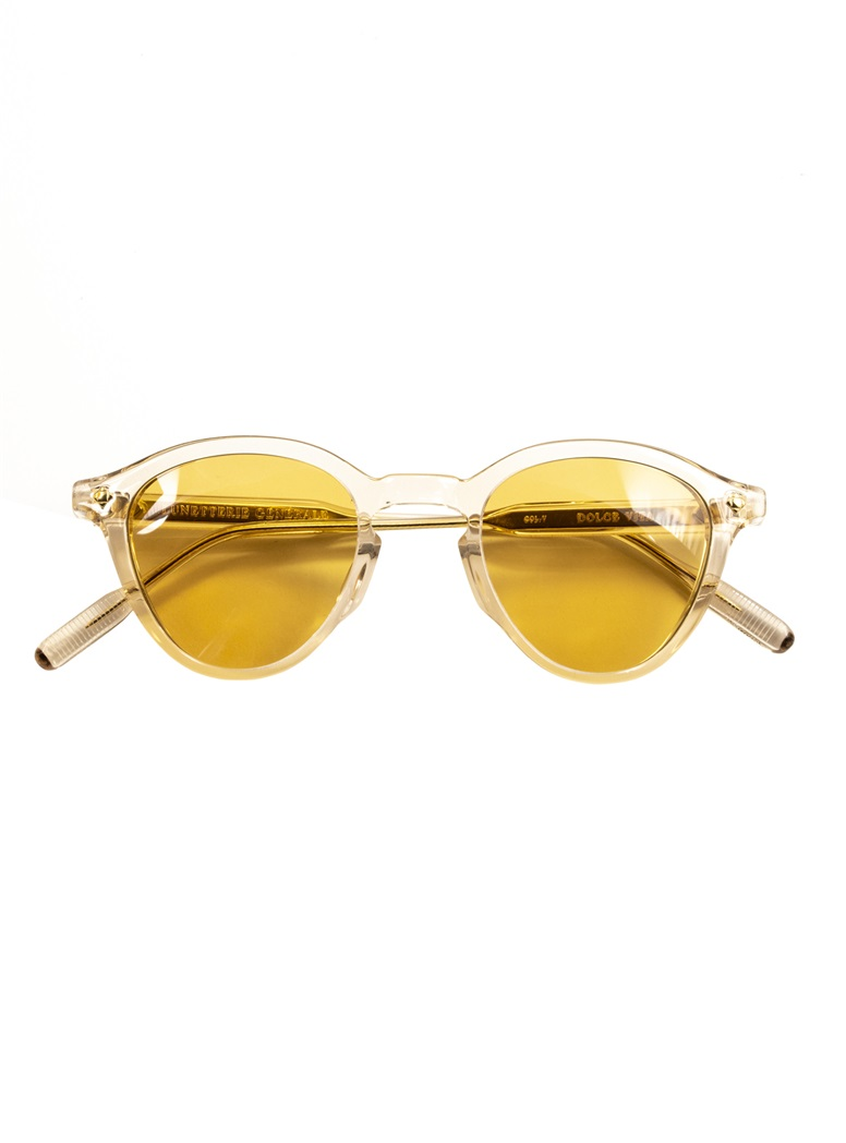 Bold Rounded Sunglasses in Crystal with Yellow Lenses