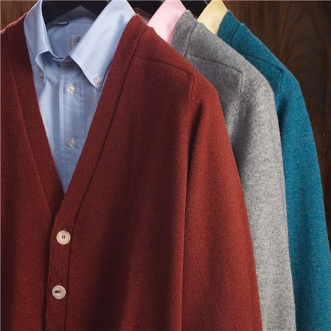 Lambswool V-neck Cardigan Sweaters