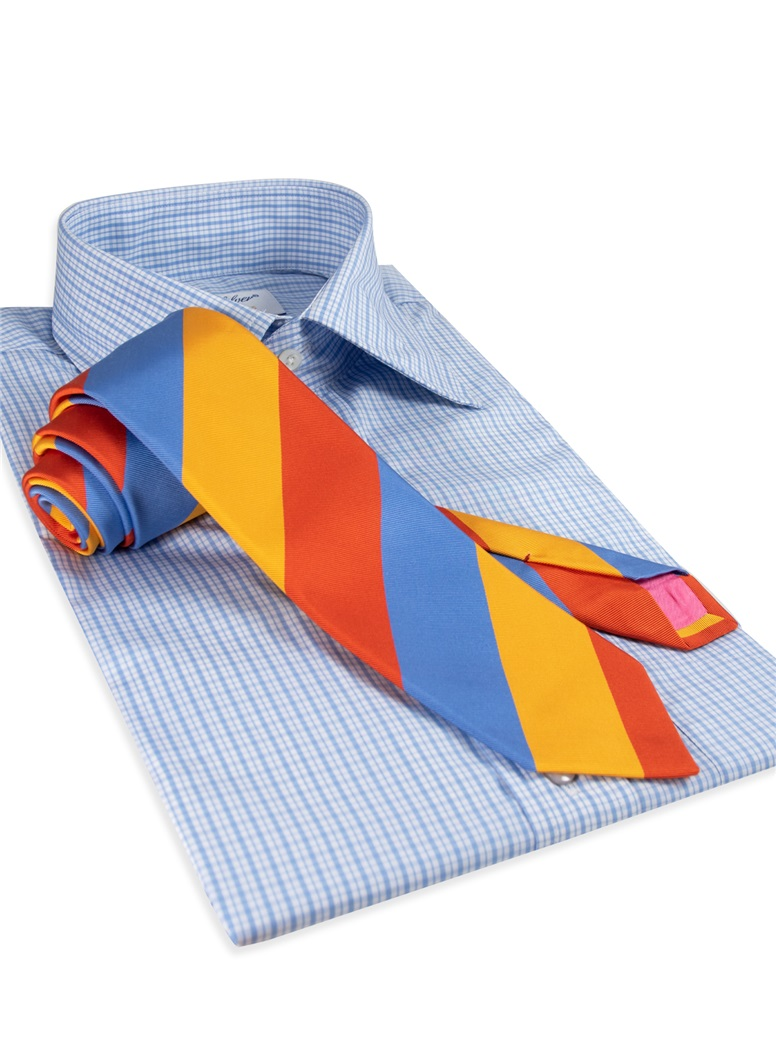 Mogador Silk Block Stripe Tie in Orange, Saffron, and Cobalt