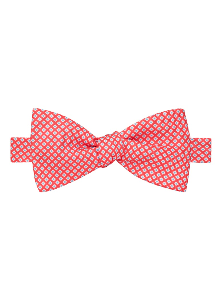 Silk Printed Dots Bow Tie in Coral