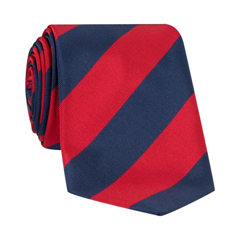 Mogador Block Striped Tie in Ruby and Navy