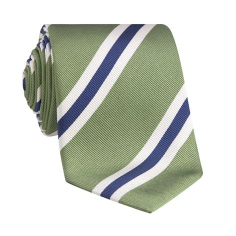 Silk Striped Tie in Fern