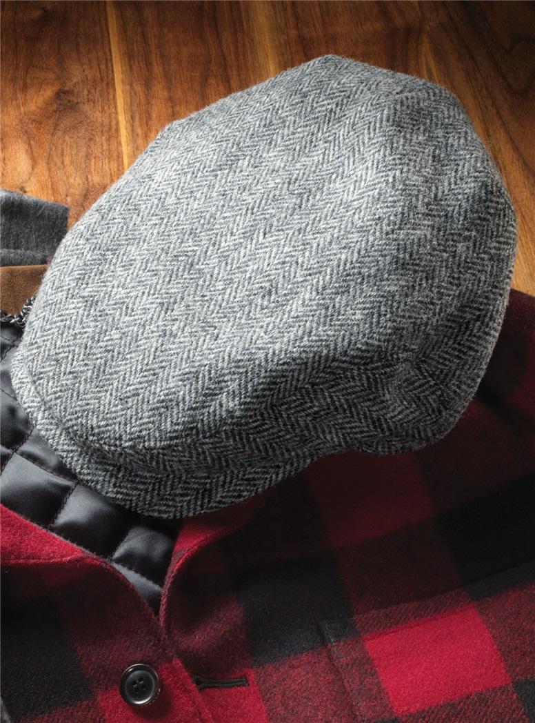Wool Aberford Cap in Black and White Herringbone