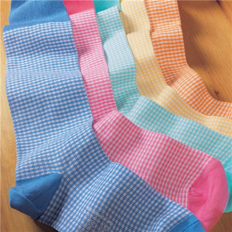 Sea Island Cotton Small Check Socks