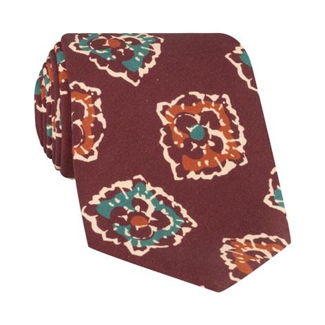 Silk Print Floral Tie in Burgundy