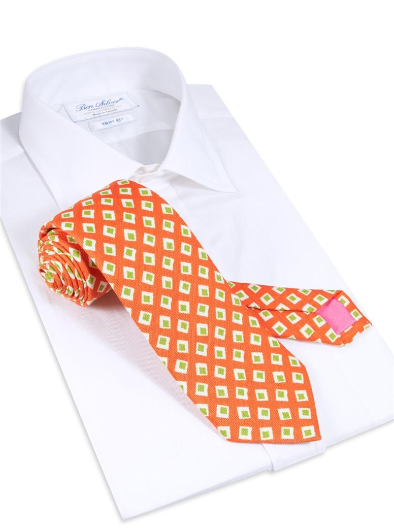 Silk and Linen Diamond Printed Tie in Tangerine