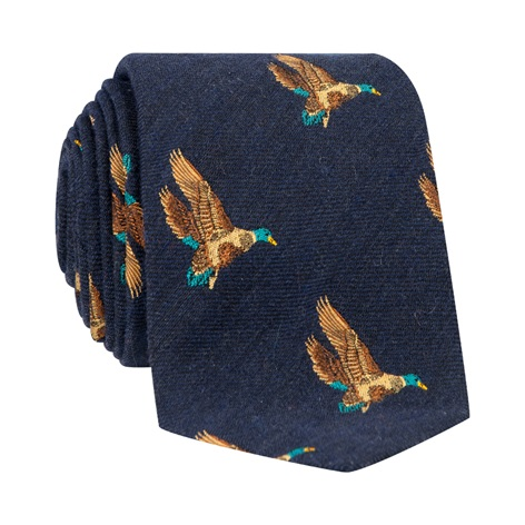 Silk Woven Flying Ducks Motif Tie in Navy