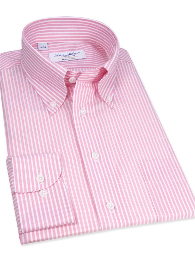 Cotton/Linen Pink and White Stripe Buttondown