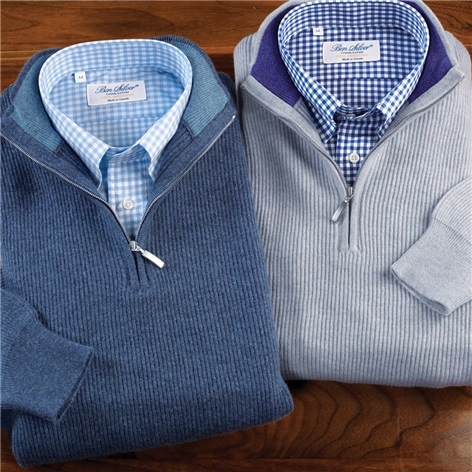 Cashmere Ribbed 1/2 Zip Sweaters