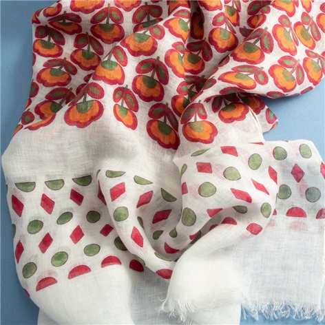 Linen Floral Printed Scarf in Ivory