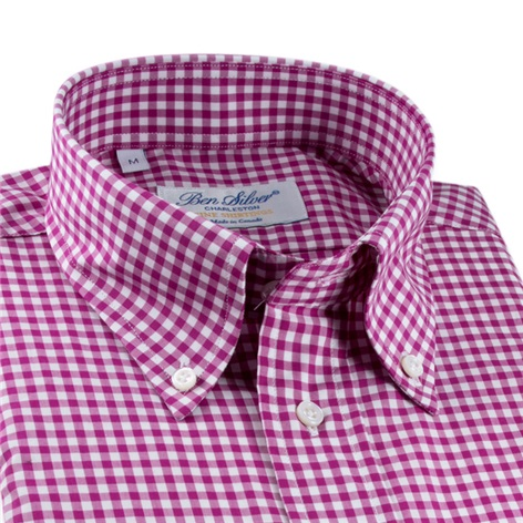 Magenta Gingham Button Down