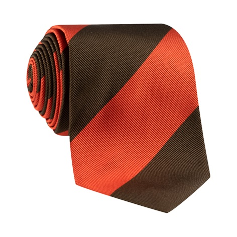 Silk Block Stripe Tie in Tangerine and Mocha
