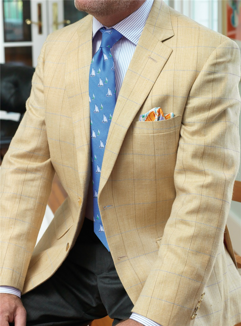 Golden Hue Sport Coat with Sky and Mustard Windowpane