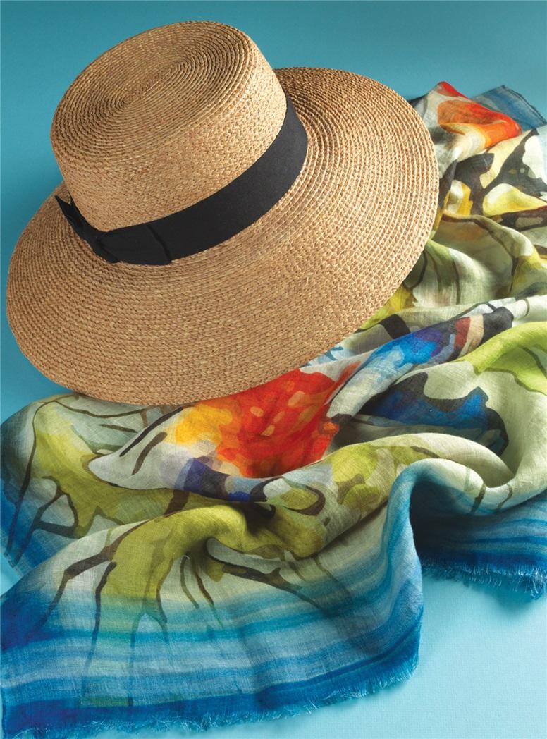 Ladies Wide Brim Straw Hat