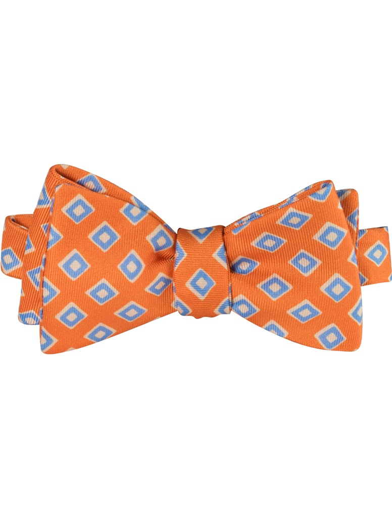 Silk Print Diamond Motif Bow Tie in Tangerine
