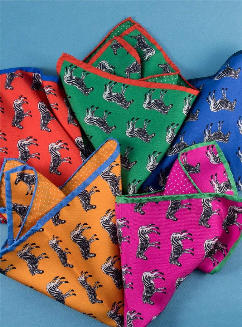 Silk Zebra & Polka Dot Reversible Pocket Squares