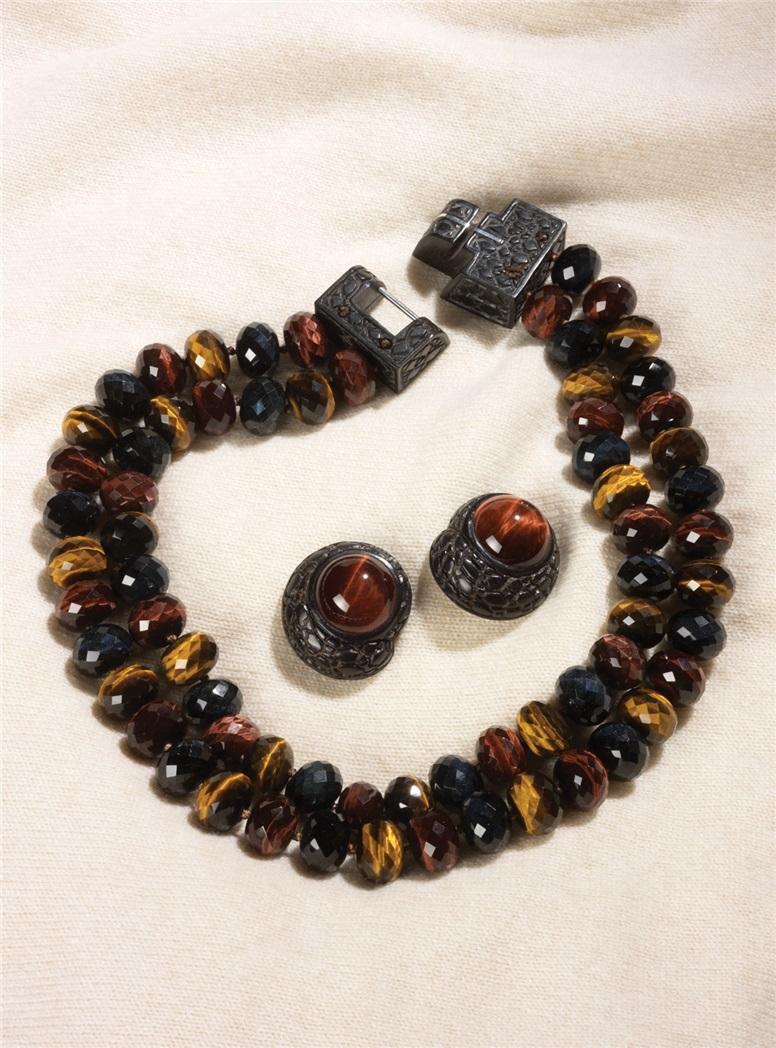 Tiger Eye Alligator Necklace